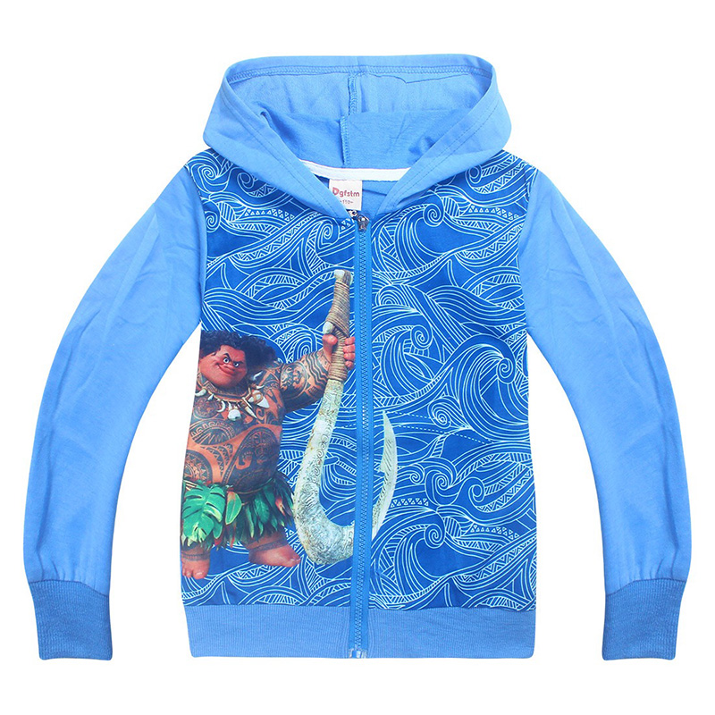 Toddler Boys Spring Autumn Funny Moana Maui Costume Children Zip Thin Cotton Hoodie Sweatshirt Blue Red Coat For Kids 3-10T