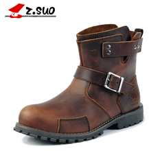 Z.Suo Cow Leather Shoes Men Boots Genuine Leather 2018 New Rubber Winter Buckle Casual Fashion Mens Work Boots Metal Zipper 122