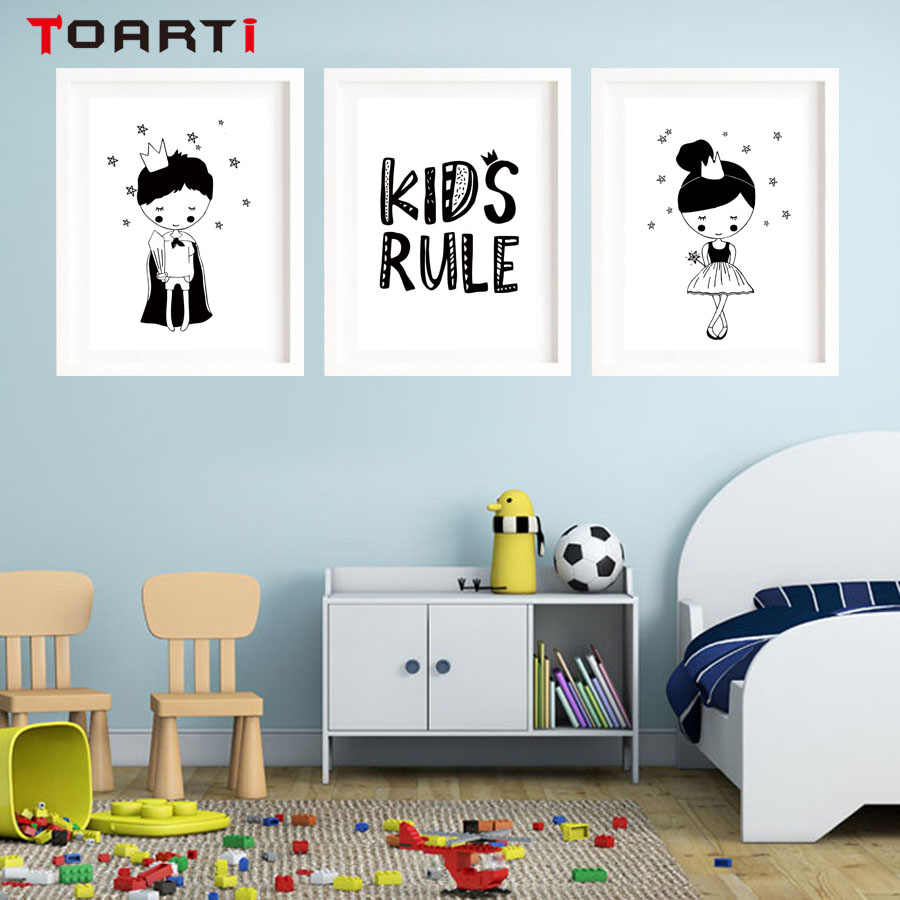 Cartoon Fairy Girls Stars Poster&Prints Wall Art Mural For Nursery Bedroom Modular Picture On Wall Chart Painting For Home Decor
