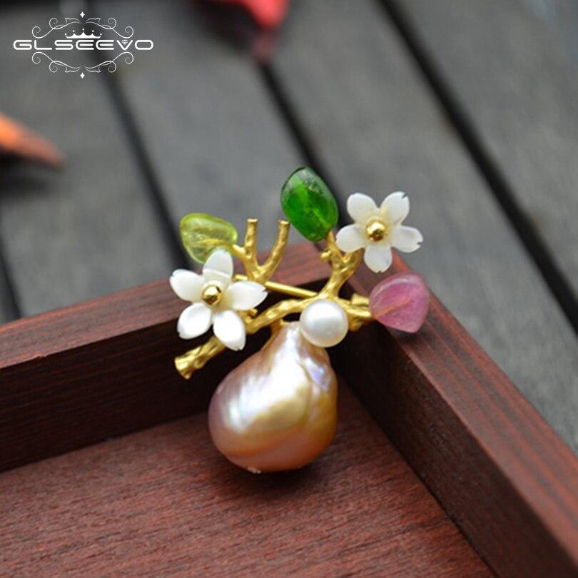 XlentAg luksusowe naturalne kolorowe turmalin perła baroku broszka Pin powłoki kwiat broszki dla kobiet podwójnego zastosowania Fine Jewelry GO0134 w Biżuteria do włosów, broszki i biżuteria na ciało od Biżuteria i akcesoria na  Grupa 1