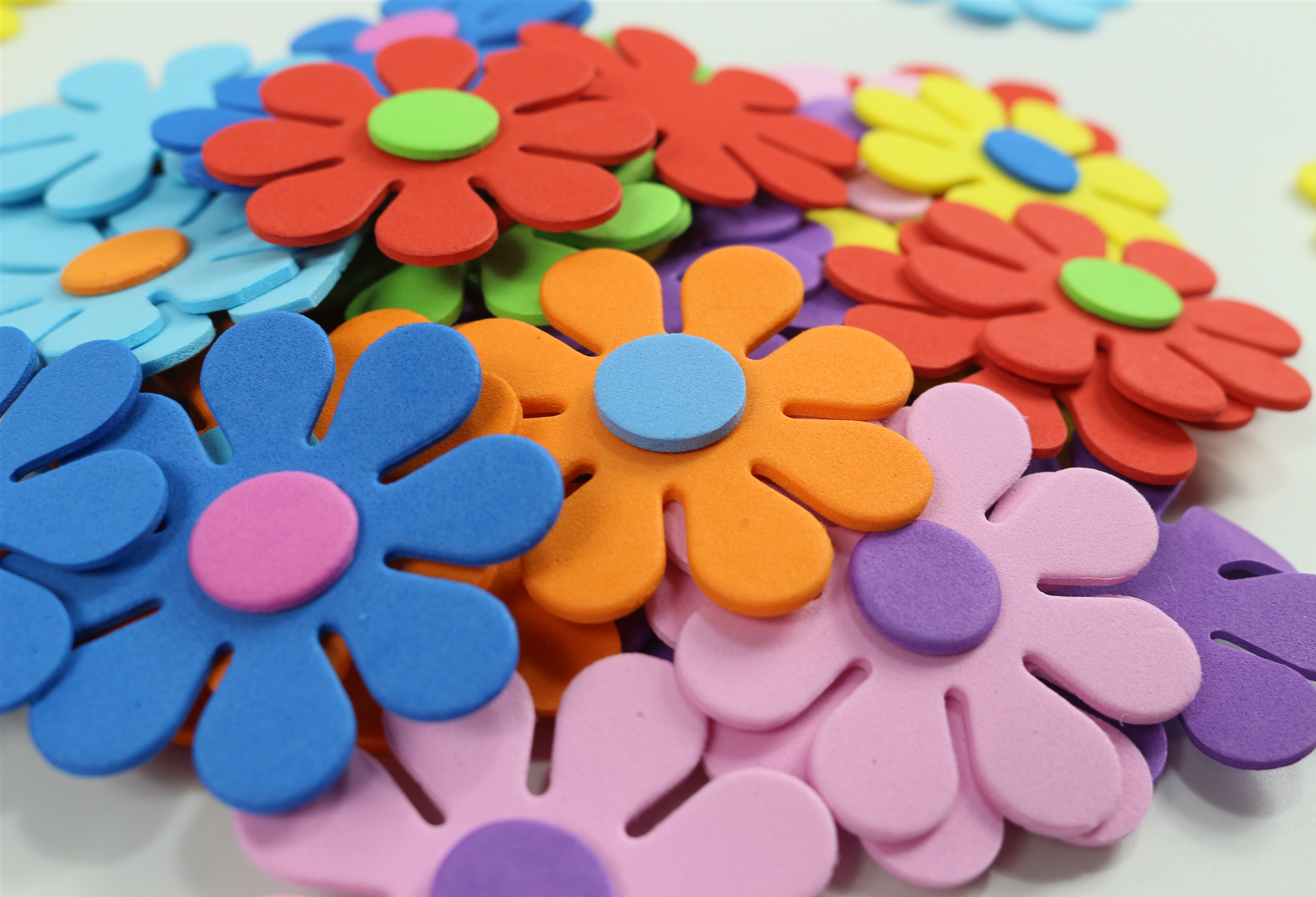 50PCS/bag Mix flowers foam stickers Kids toy Scrapbooking kit Early educational DIY kindergarten arts and craft Wholesale
