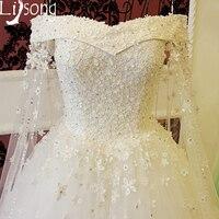 Flowers White Wedding Dresses Vestido De Noiva Off Shoulder Bridal Formal Gown 2018 Dream Floor Length