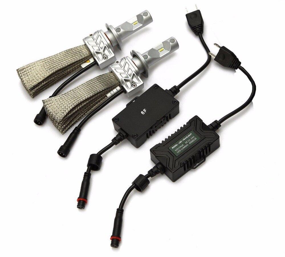 1 Set H1 H4 H7 H11 9005 9006 9012 H13 50 W 8000LM 5 S phare LED Slim Kit LUMI LED ZES puces tout-en-un sans ventilateur blanc pur 6000 K