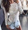 Sexy de encaje floral blanco bodysuit