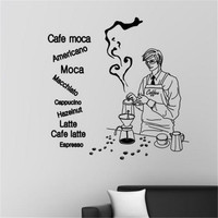 Free shipping Coffee shop wall sticker Bar wall deocoration Making coffee Glass tile diy wall stickers wall decals
