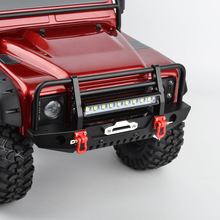 RC 1/10 Metal Front Bumper & LED Light for 1/10 RC Crawler Car Traxxas TRX-4 TRX4 Axial SCX10 & SCX10 II 90046 90047 1 10 rc crawler accessory parts fire extinguisher model for axial scx10 trx4