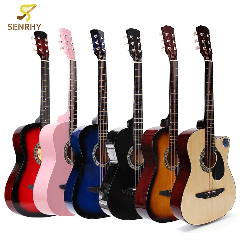 38 Inch 18 Frets Basswood Back Maple Wood Fingerboard Folk Acoustic Guitarra Electric Bass Guitar Ukulele with Case Bag 38 inch folk guitar to send full color gifts string linden wood guitar six strings with free shipping