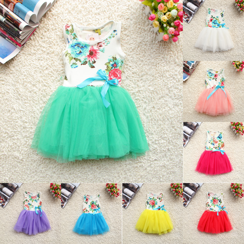 2018 new Girls Baby Kids Toddlers Summer Floral Print dress Bow sleeveless Tutu Dress children's clothing