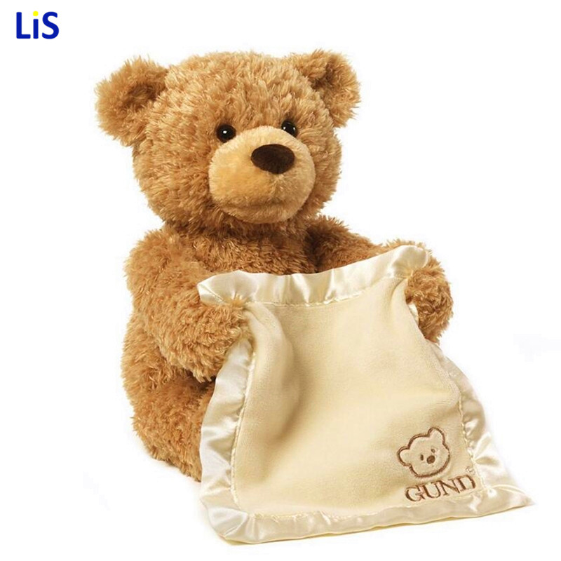 Peek a Boo Teddy Bear Play Hide And Seek Lovely Cartoon Stuffed Kids Birthday Gift 30cm Cute Music Bear Plush Toy hide and seek