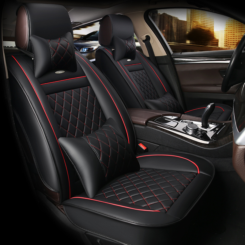 HLFNTF Leather Car Seat Covers For Hyundai solaris ix35 i30 ix25 Elantra accent tucson 2016 car