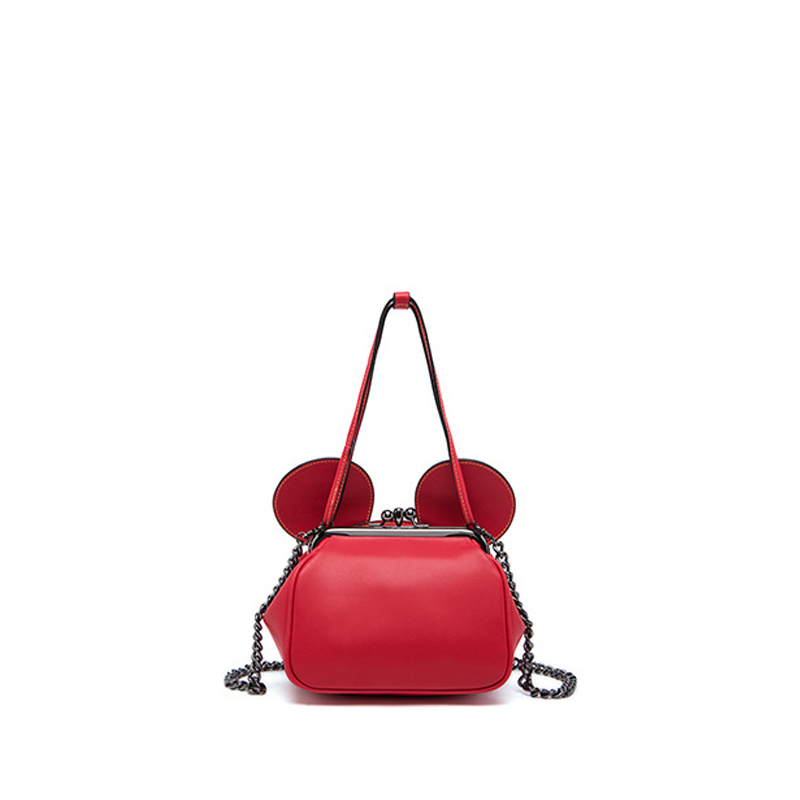 ФОТО New 2017 Brand Celebrity Cute Mickey Ears Lady Tote Women Cowhide Split Leather Handbags For Female Chain Messenger Bags an326
