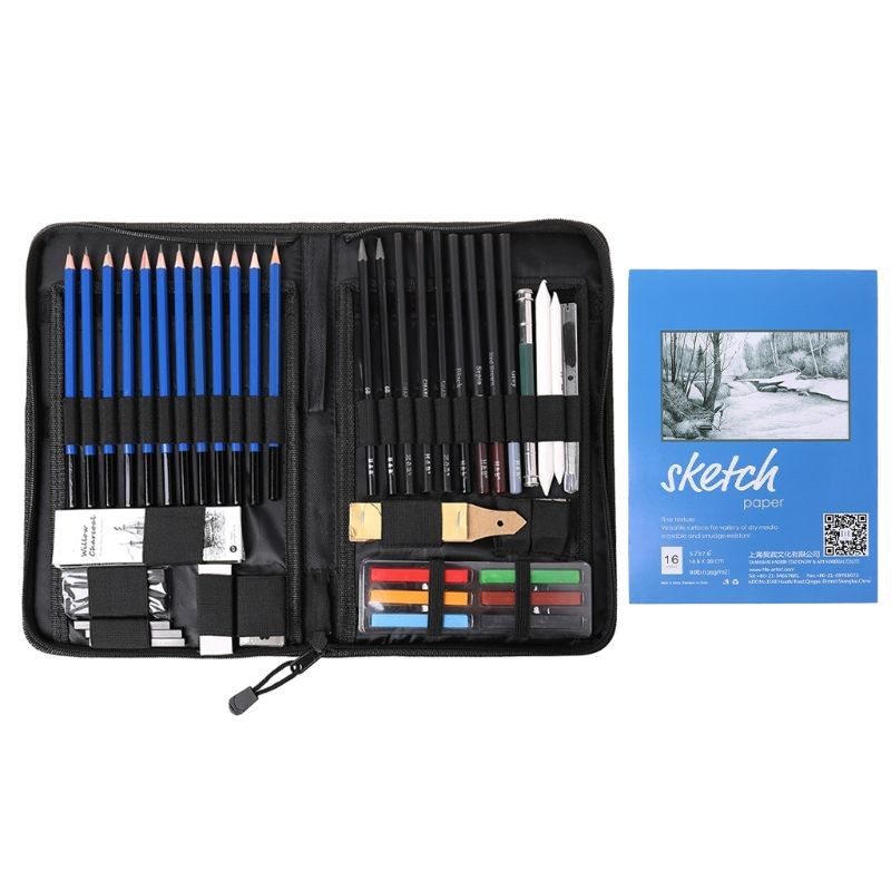48Pcs/Set Professional Sketching Drawing Pencils Eraser Sharpener Pastel Kit Painting Tool Art Supplies With Carry Bag Gift C26