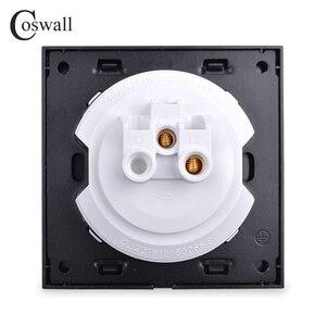 Image 5 - Coswall 1 комплект 1 способ случайный щелчок вкл/выкл настенный выключатель света светодиодный индикатор Хрустальная стеклянная панель Белый Черный Серый Золотой серии R11