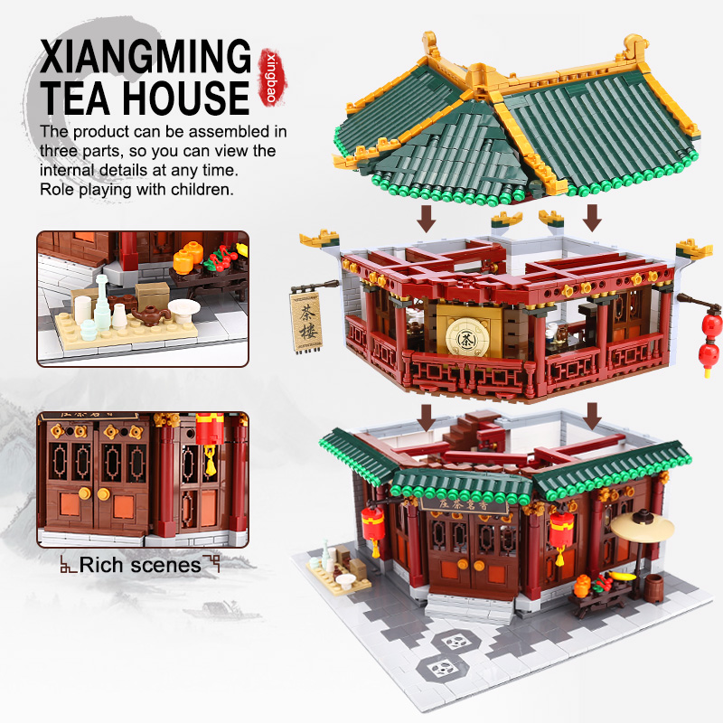 XINGBAO 01001 04 20 21 Zhonghua Street Chinatown Building Series The Toon Tea House Set Building Blocks Bricks Kids Toys Gifts in Blocks from Toys Hobbies