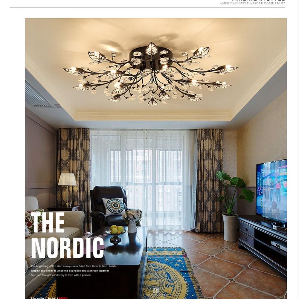 HTB1pd2AeuALL1JjSZFjq6ysqXXao Modern Flush Mount Home Gold Black LED K9 Crystal Ceiling Chandelier Lights Fixture for Living Room Bedroom Kitchen Lamps