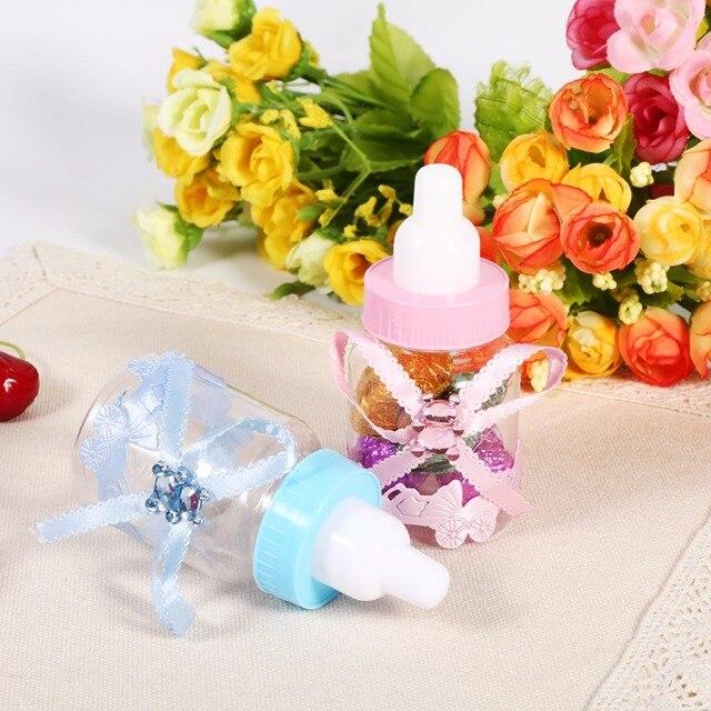50Pcs/Lot Baby Shower Gift Box Bottle Blue Boy Pink Girl Baptism Christening Brithday Party Favors Gift Favors Candy Box Bottle