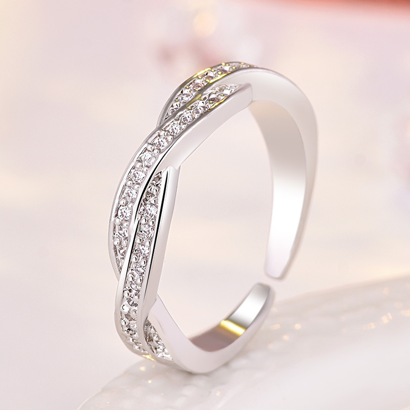 Ailodo Crystal Twist Classical Engagement Rings For Woman Girls Rose Gold Silver Color Wedding Rings Bague Femme Jewelry LD139 in Rings from Jewelry Accessories