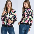 Fashion Women Flower Print Zipper Jacket Vintage Women Stand Collar Short Casual Bomber Jacket Long Sleeves Girls Coat Plus Size