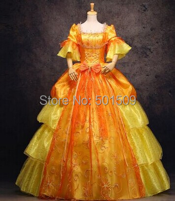 golden embroidery Medieval Renaissance gown princess dress costume Victorian Gothic/Marie Antoinette/civil Colonial Belle Ball