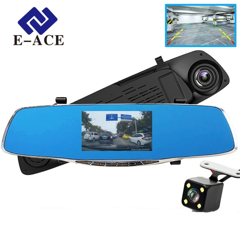 E-ACE Kamera Dvr Mobil Kaca Spion Auto DVR Dual Lens Perekam Video Dash Cam Registrator Camcorder Full HD 1080 P Dua Kamera