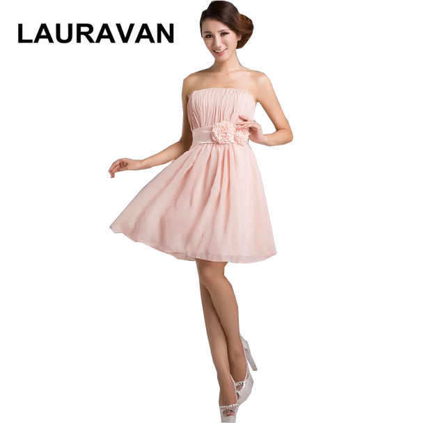 Ladies Chiffon Knee Length Strapless Dusty Pink Dress For Bridesmaid