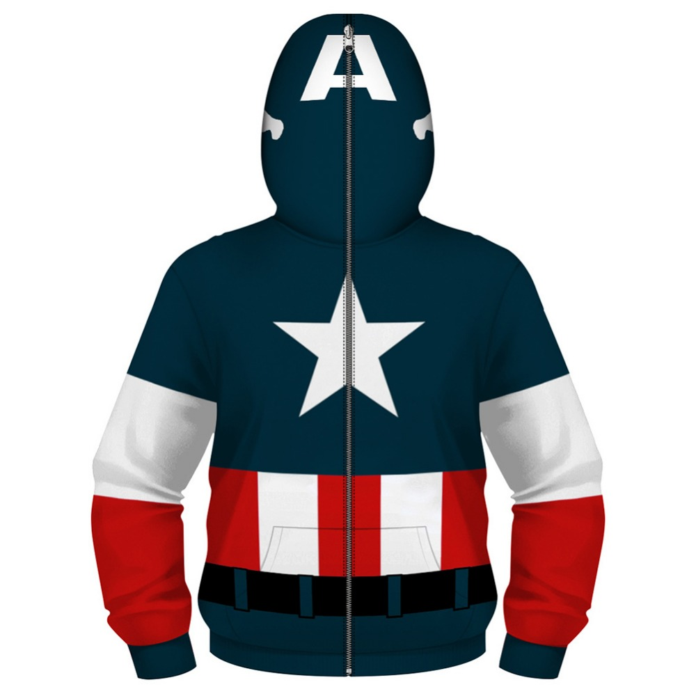 Marvel Boys Zip Up Hoodie Sweatshirt Captain America Blue Red Multiple Sizes