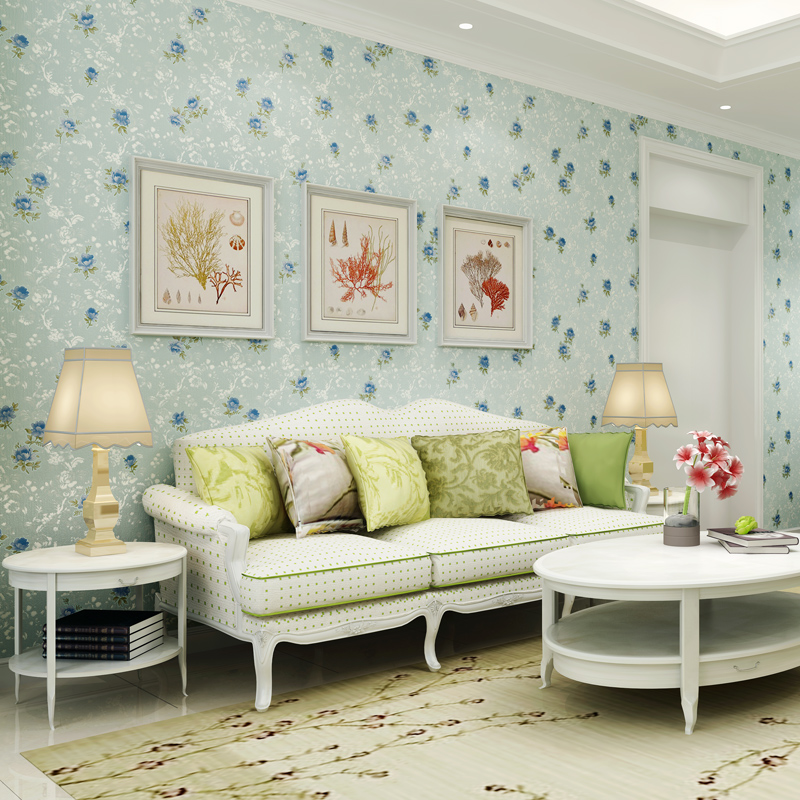 beibehang fresh pastoral micro - flocking flowers non - woven wallpaper living room bedroom restaurant background wall paper