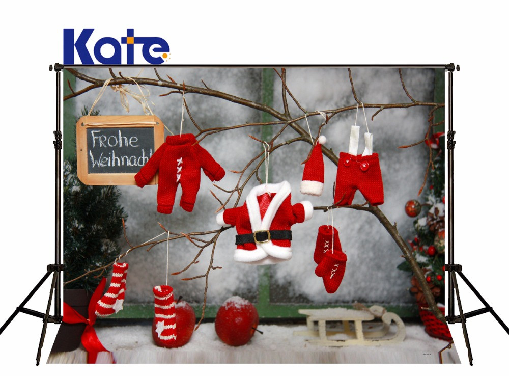 Kate Christmas Backdrops Photography Christmas background photo red Clothing Children'S Photocall  Photo Backgrounds for studio