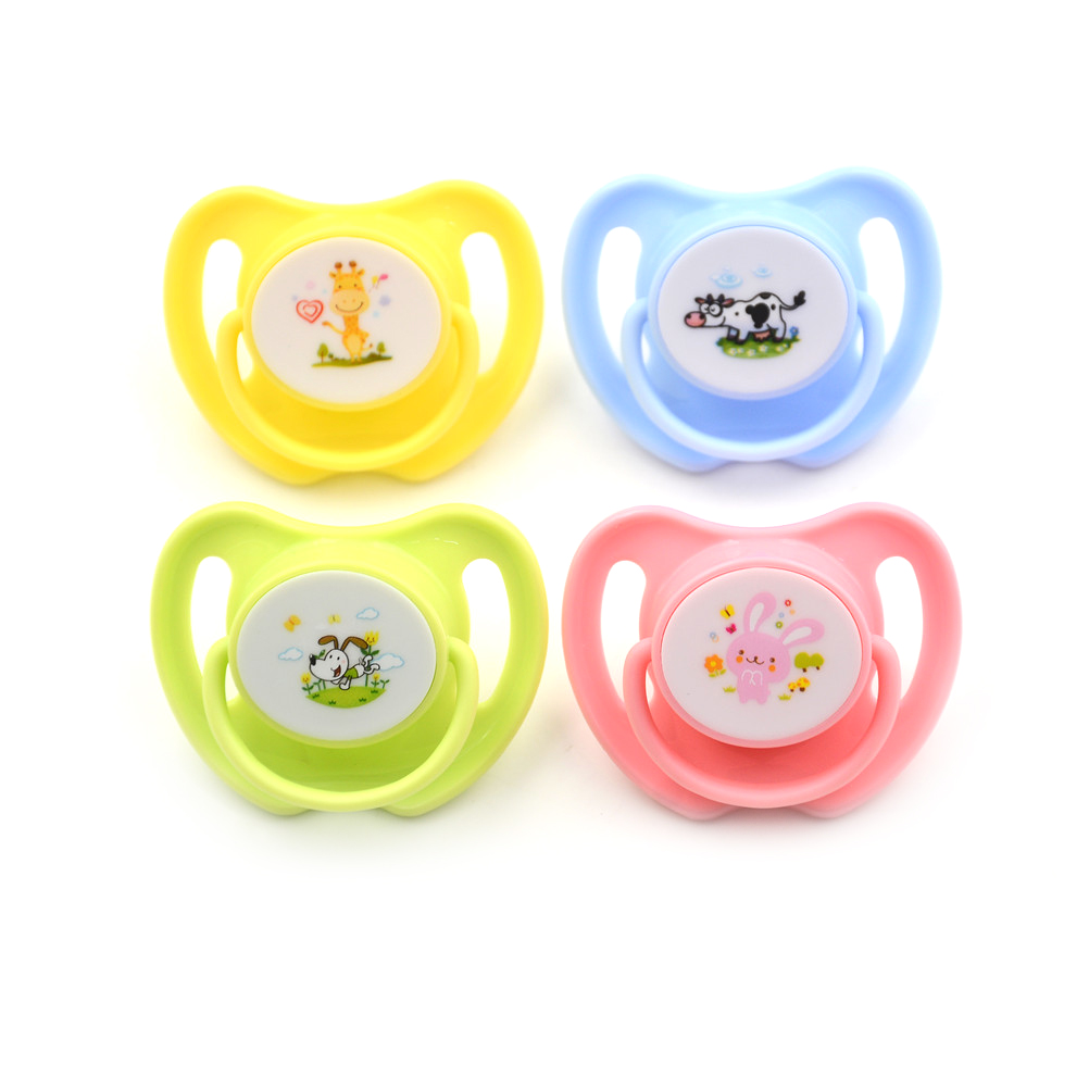 Cartoon Animal Pattern Baby Feeding Silicone Pacifier Kids Care Flat Nipple Teether Soother Heart Shape With Handle
