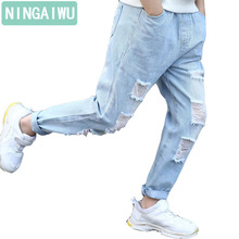 New unisex jeans  boys' broken hole jeans children clothing girls denim pants kids straight of casual trousers for 6-14 years цена