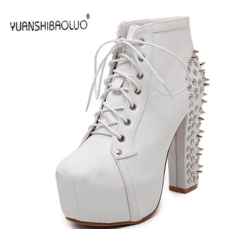 12 cm thick with waterproof Taiwan short boots boots rivets leather high heels Roman sexy shoes, leisure shoes