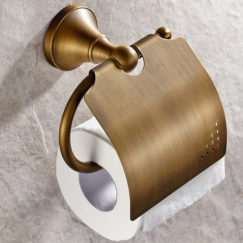 new wall mounted bathroom antique brass toilet paper holder with cover waterproof roll paper. Black Bedroom Furniture Sets. Home Design Ideas