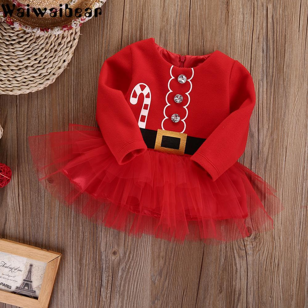 Baby Girl Christmas Dress Kids Long Sleeved Dress Kids Casual Tulle Tutu Dress Party Outfits Costume Girls Christmas Clothes in Dresses from Mother Kids