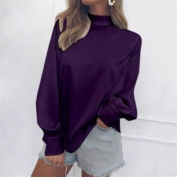 Purple Chiffon Blouses Women Casual Autumn Long Sleeve Turtleneck Shirts Plus Size Office Ladies Top Shirt White Red Black Blue plus size chiffon long sleeve layering top