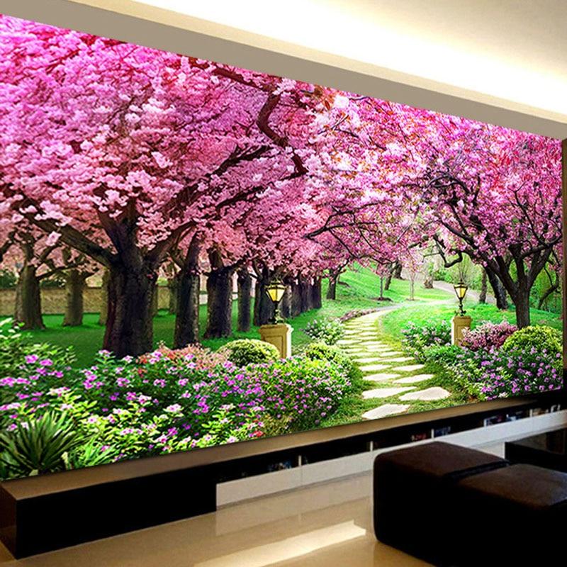 Романтический Сакура деревья Алмазная вышивка, пейзаж, 5d Вышивка с кристаллами, сделай сам алмаз мозаичная вышивка, украшения в спальню