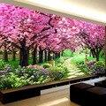Romántico Sakura árboles diamante bordado paisaje 5d pintura diamante Cruz puntada diy diamante mosaico bordado decoración de dormitorio