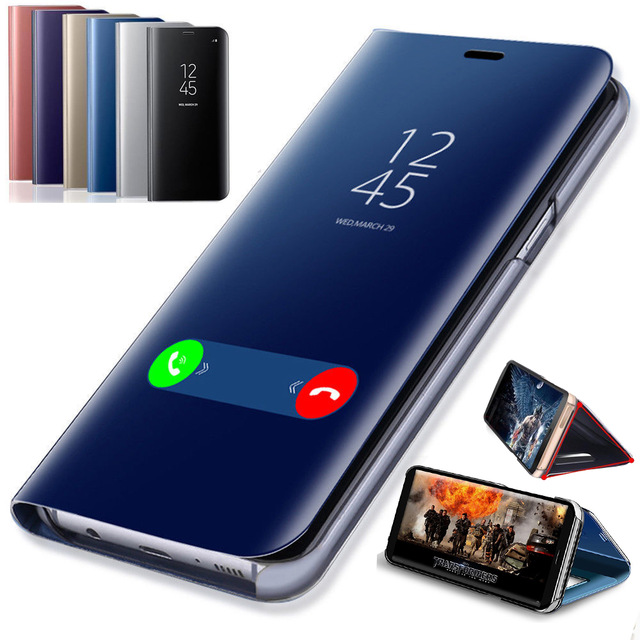 Smart Mirror <font><b>Flip</b></font> Phone <font><b>Case</b></font> For <font><b>Samsung</b></font> Galaxy J2 J3 J5 J7 Prime 2016 2017 J4 J6 Plus J8 2018 <font><b>Note</b></font> 3 4 <font><b>5</b></font> 8 9 Clear View Cover image
