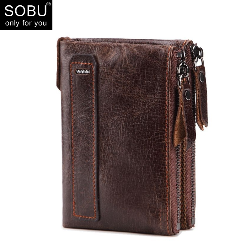 Genuine Crazy Horse Cowhide Leather Men Wallet Credit Business Card Holders Double Zipper Cowhide Leather Wallet Purse L001 hongkong olg yat handmade leather carving the king of tuhao card package italy pure cowhide retro casual credit card holders