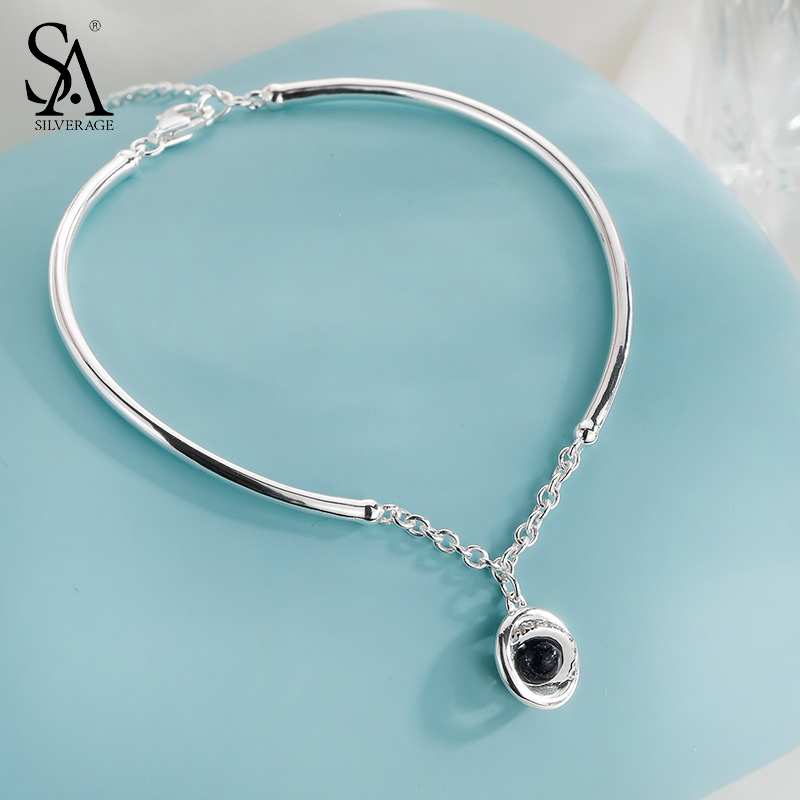 SA SILVERAGE Real 925 Sterling Silver Planet Chain Bracelet for Women Fine Jewelry Black Aventurine Clear CZ 2017 New Arrival bracelet