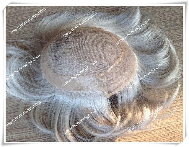Синтетические волокна волос прямо, супер тонкой кожи, волос парик мужчин, мужская PU в спину, части волос, замена системы волос whitehair