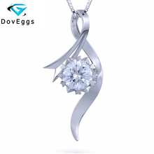 Queen Brilliance 1ct F Color Lab Grown Moissanite Diamond Pendant Necklace For Women Genuine 18K 750 White Gold Free Shipping
