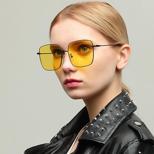 7a4c26686c Superstar Style Big Frame Glasses Clear Square Sunglasses Women Couple  Eyewear Elegant Glasses Frame Metal Red Yellow Lens Retro