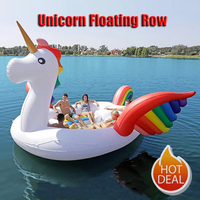 Color Printed Giant Unicorn Pool Float Island for 6 8persons