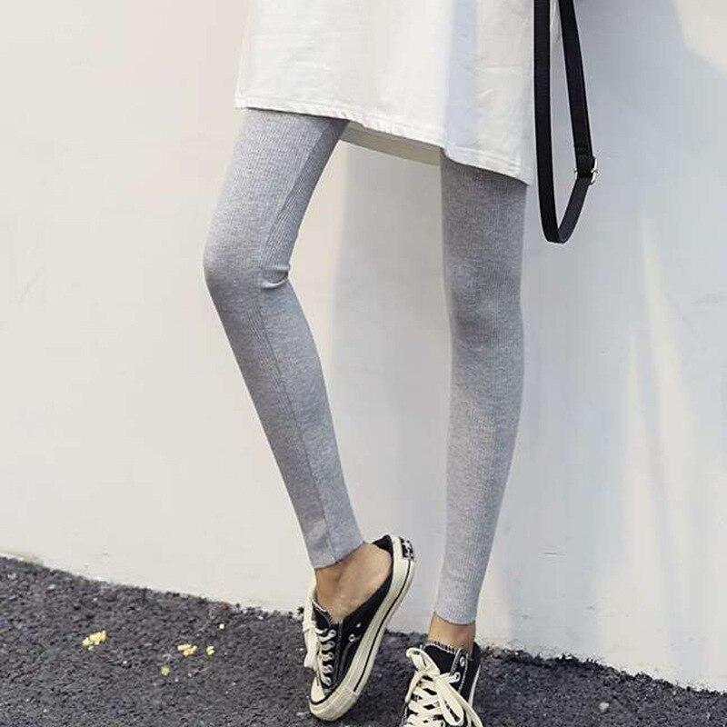 N Fashion Autumn Solid Leggings Thin Nine-point Thread Thin Vertical Stripes Leggings  Breathe and Raise Hips