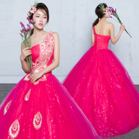 100%real luxury hot pink peacock princess cosplay stage ball gown medieval dress/victoria belle ball