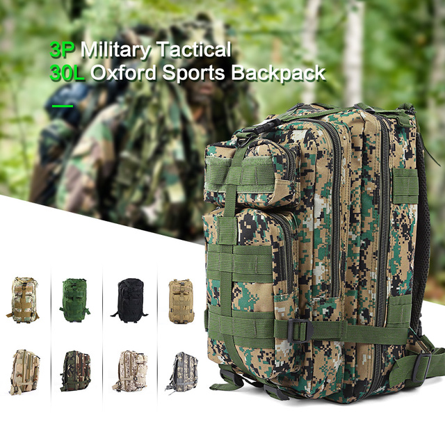 3P Outdoor Camping Bag Backpack Army Military Tactical Bag Pack Molle Oxford Camouflage Bag For Men Traveling Hiking Trekking