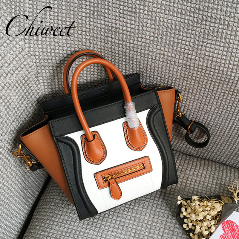 Luxury Handbags Genuine Leather Trapeze Bag Famous Brand Panel Smiley Women Bag Tote Designer Inspire Messenger Shoulder Bags
