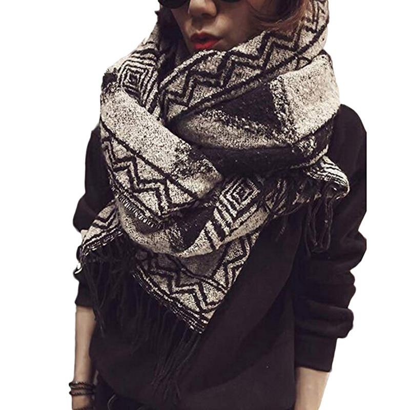 Drop Shipping Shujin Men Scarfs Long Soft Scarves Brief Beach Towel Shawl Cashmere Tassel Geometric Shawl