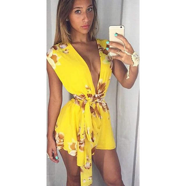 8497a16b26 placeholder Sexy Yellow Playsuits Women Flower Print Deep V-neck Sleeveless  Playsuit Overalls Rompers Womens Jumpsuit