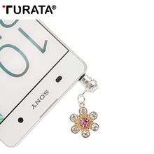 TURATA Universal Flower Diamond Audio 3.5mm Headphone Jack Anti Dust Plug Mobile